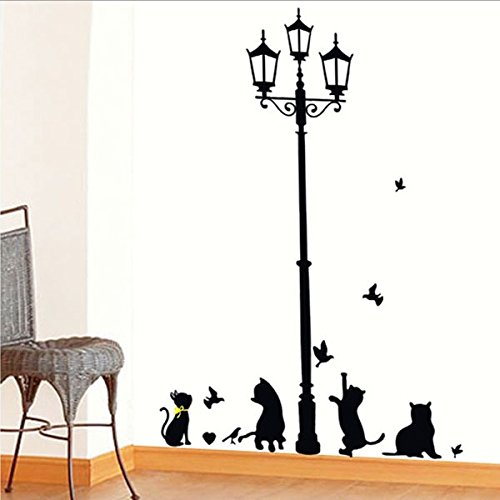 popular-ancient-lamp-cats-and-birds-wall-sticker-wall-mural-home-decors-for-kids-room-diy-decoration