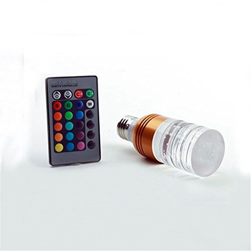 3W E27 Change Color Acrylic Ceiling Lamp Light Bulb + Remote Controller Gold Pillar Style