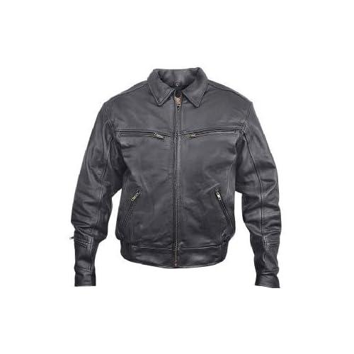 Xelement B 25542 Mens Black Leather Motorcycle Jacket Sz M