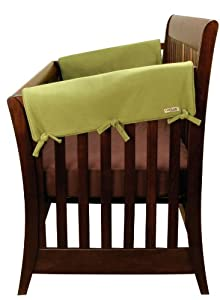Trend Lab Fleece CribWrap Rail Covers for Crib Sides (Set of 2), Avocado Green, Wide