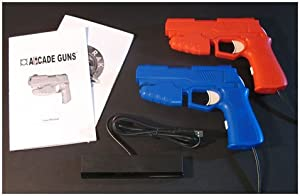 Dual Arcade Guns PC Light Gun Kit (Blue & Red) - [White Buttons/Trigger] from Harbo Entertainment LLC