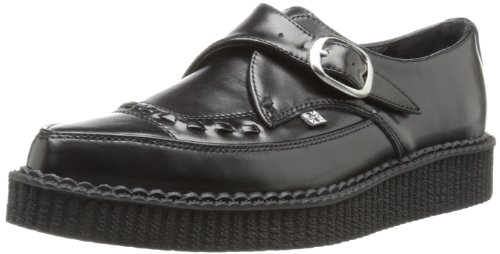 TUK  Pointed Creeper,  Sneaker donna Nero Noir (Black Leather with Monk Buckle) 40