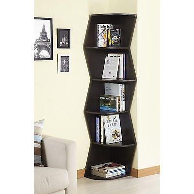 Modern Walnut 6-tier Corner Bookcase/ Display Cabinet