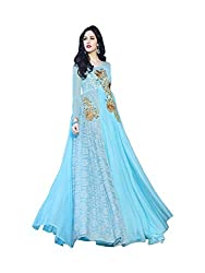 Whatshop Blue Designer Embroiderd Floor Length Gown