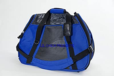 """LIL Chick Products (TM) Royal Blue Soft Sided Pet Carrier, """"FAA Airline Approved"""" LARGE 19"""" L X 9"""" W X 13"""" H Airlines Pet Carrier, 2016 Model"""