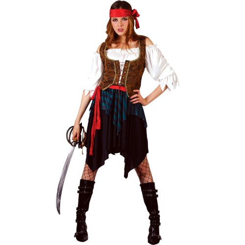 Caribbean Pirate Wench Ladies Fancy Dress Costume Small