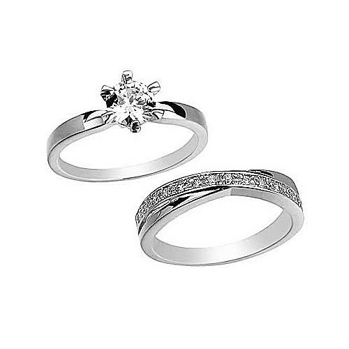 Round Cut CZ Swirl Wedding Ring Set In White Gold Filled By GemGem Jewelry (7)