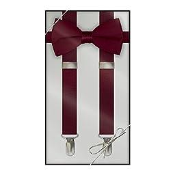 Suspender & Bow Tie Set (Kids, Burgundy)