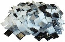 Cristal Mosaico ~1450 Mosaico Piedras 1x1cm 1000g Negro Blanco-Gris-Mix