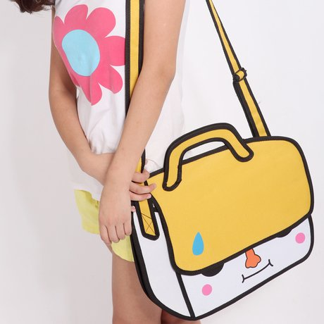 Women'S Cute 3D Jump Style 2D Drawing From Cartoon Paper Bag Comic Yellow.