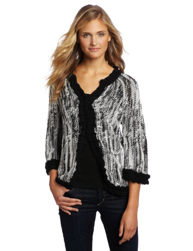 Pure Handknit Women's Orillia Ruffle Cardigan, Huntington White, X-Small