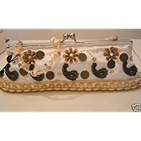 Bridesmaid Prom Evening Beaded Clutch Purse Bag Handbag, wrist handle, ivory beige bronze brown