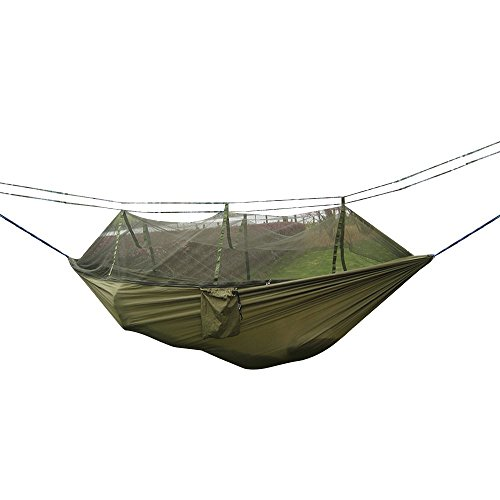 Camping Hammock, Rusee Mosquito Net Outdoor Hammock Travel Bed Lightweight Parachute Fabric Double Hammock For Indoor, Camping, Hiking, Backpacking, Backyard (Hammock Outdoor compare prices)