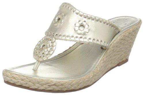 Jack Rogers Women's Marbella Mid Wedge Sandal,Platinum,9 M US