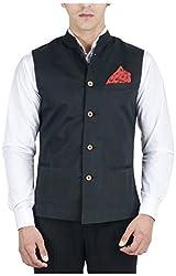 Suchos Men's Poly Cotton Shirt (SJ11, Black, L)