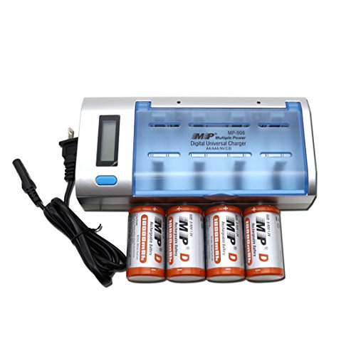 MP D Cell 10000mAh NiMH Rechargeable Batteries (4 Pack) with Universal Smart Charger for AAA/ AA /C /D/ 9V (Rechargeable D Batteries compare prices)