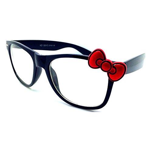 Occhiali neutri KISS® - WAYFARER stile HELLO KITTY - montatura da vista DONNA cool fashion - NERO / Rosso