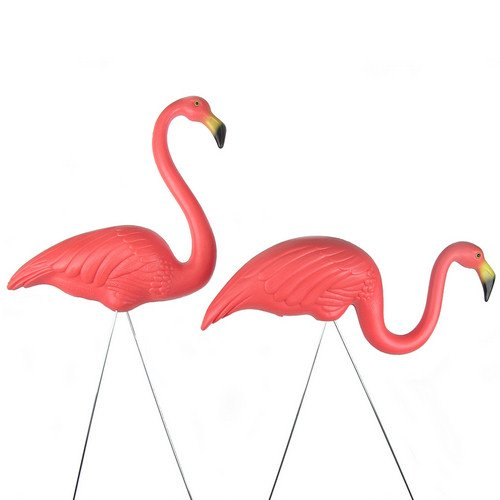 2 Pink Flamingos Classic Retro Signed Garden Statue Decoration Pair Made in USA