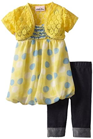 Little Lass Baby-Girls Infant 3 Piece Skimp with Dots, Yellow, 24 Months