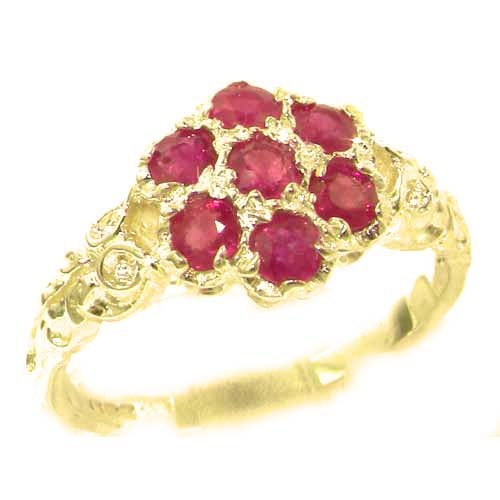 Luxury Ladies Solid 14K Yellow Gold Natural Ruby Victorian Daisy Ring - Size 9.75 - Finger Sizes 5 to 12 Available - Perfect Gift for Birthday, Christmas, Valentines Day, Mothers Day, Mom, Mother, Grandmother, Daughter, Graduation, Bridesmaid.