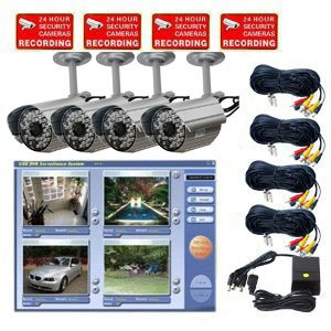 VideoSecu 4 Channel MPEG4 USB DVR System Internet Remote Control, including 4 Color Audio Infrared IR Day Night Vision Security Cameras, 1 of 4 CH Power Supply and 4 Camera Extension Cables WAN