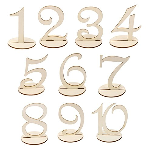 MacTop Wooden Freestanding 1-10 Table Number Sign Stand Wedding Party Home Decor