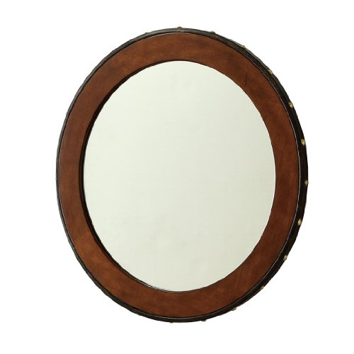 Poundex Firebird Series Wall Mirror with Button Décor Style