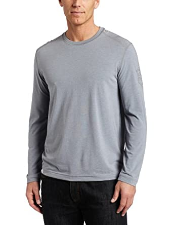 Victorinox Men's Long Sleeve Tailored Fit Crew Neck T-Shirt, Steel Grey Heather, Large