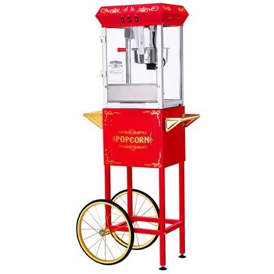 Great Northern Popcorn Red 8 Ounce All Star Gnp-800 Classic Style Popcorn Machine With Cart