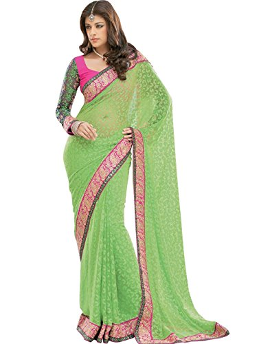 Cbazaar Party Green Brasso Solid Sari