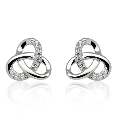 Buy 925 Sterling Silver Rhodium Plating Small Celtic Trinity Knot CZ Stone Accent High Polished Post Stud Earrings 10mm, Women Jewelry - Nickel Free