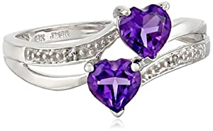 10k White Gold Double Heart-Shaped Amethyst with Diamond Heart Ring, Size 5