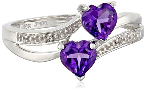 10k White Gold Double Heart-Shaped Amethyst with Diamond Heart Ring, Size 7