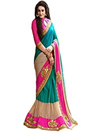 Saree(Krishna Fab Sky Blue Pink & Cream Color Cotton Lycra & Baglory Embroidered Party Wear Saree For Womans With...