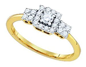 Pricegems 14K Yellow Gold Ladies Princess Diamond Invisible Set Bridal Ring Size: 5.75)
