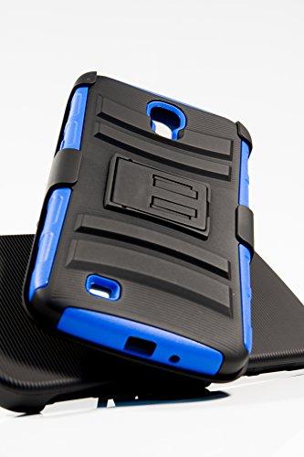 Shockwize (Tm) Stealth Series Samsung Galaxy Mega 6.3 Black Shell Holster Armor Protector Cover Case Tri-Layer Shock Absorbing Rigid Hybrid Dual Kickstand With Locking Swivel Belt Clip Gt-I9200 I9200 I9205 (Blue)