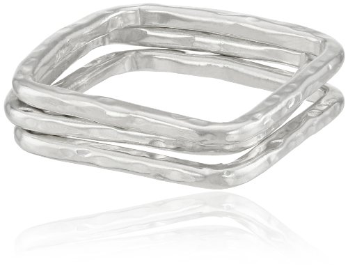 Adina Reyter Sterling Silver Square Stack Set Of 3 Rings, Size 7