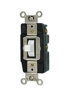 Leviton 1256-W 15-Amp 120/277-Volt Single-Pole Toggle AC Quiet Switch, White