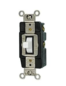 Leviton 1256-W 15-Amp 120/277-Volt Single-Pole Toggle AC Quiet Switch, White