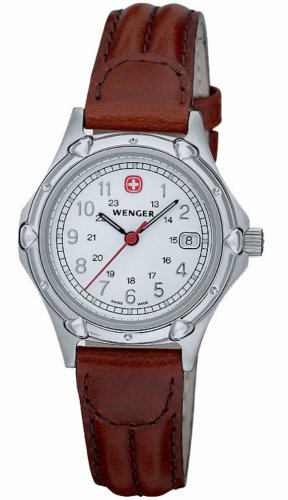 Wenger Standard Issue White Dial Brown Strap Watch