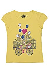 Chalk by Pantaloons Girl's Round Neck T-Shirt (205000005609200, Yellow, 2-3 Years)