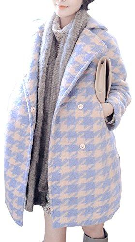 EUDORA Women's Woolen Blend Vogue Houndstooth Casual Cocoon Outwear Warm Coat Multicolour US XS(Asian M)