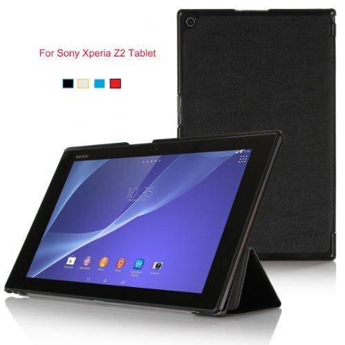 VSTN® 全 4 色 ソニー Xperia Z2 Tablet docomo SO-05F, au SOT21, SGP521 専用 超薄型スマートケースPUレザー ホルスター (For Sony Xperia Z2 Tablet, ブラック)