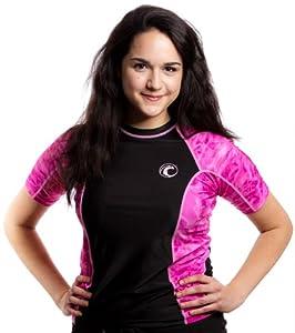 Aqua Design Women's Big Wave Rash Guard UPF 50+ Comfort Fit Swim Rashie Shirt X-Large