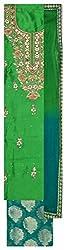 Punjabi Designer Suits Women's Silk Unstitched Dress Material (Green)