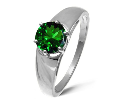 Modern 9 ct White Gold Ladies Solitaire Engagement Ring with Chrome Diopside 1.00 Carat