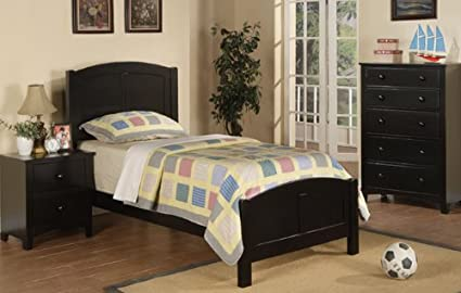 Beautiful Twin Size Bed in Black Finish Set PDS f90208 f40236 f40237