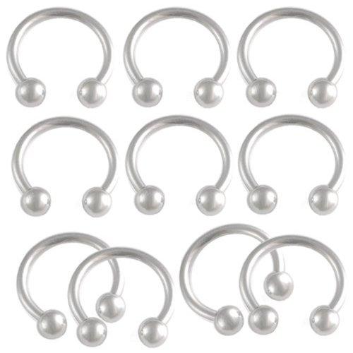 "Horseshoe Stud Earrings Cute Tragus Jewelry Forward Helix Piercing 14G 14 Gauge (1.6Mm) , 3/8"" Inch (10Mm) Long - Surgical Steel Eyebrow Lip Bars Ear Rings Circular Barbells With 4Mm Ball Alfm - Pierced Body - Set Of 10"