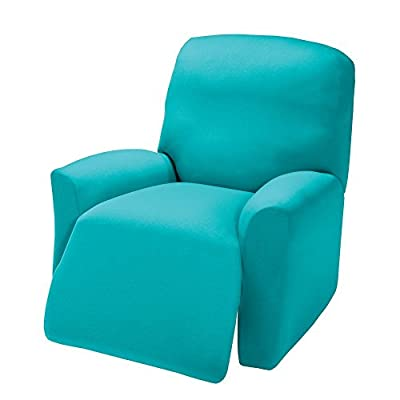 Madison Stretch Jersey Recliner Slipcover, Large, Solid, Aqua