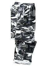 Thermal-Lined Fleece Cargo Pants, Black Camo Tall-2Xl